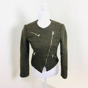H&M Olive Cropped Boucle Asymmetrical Zip Blazer